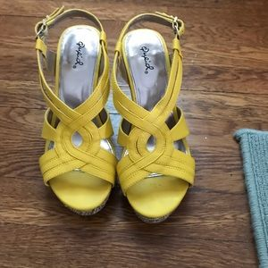 Funky yellow and beige wedges